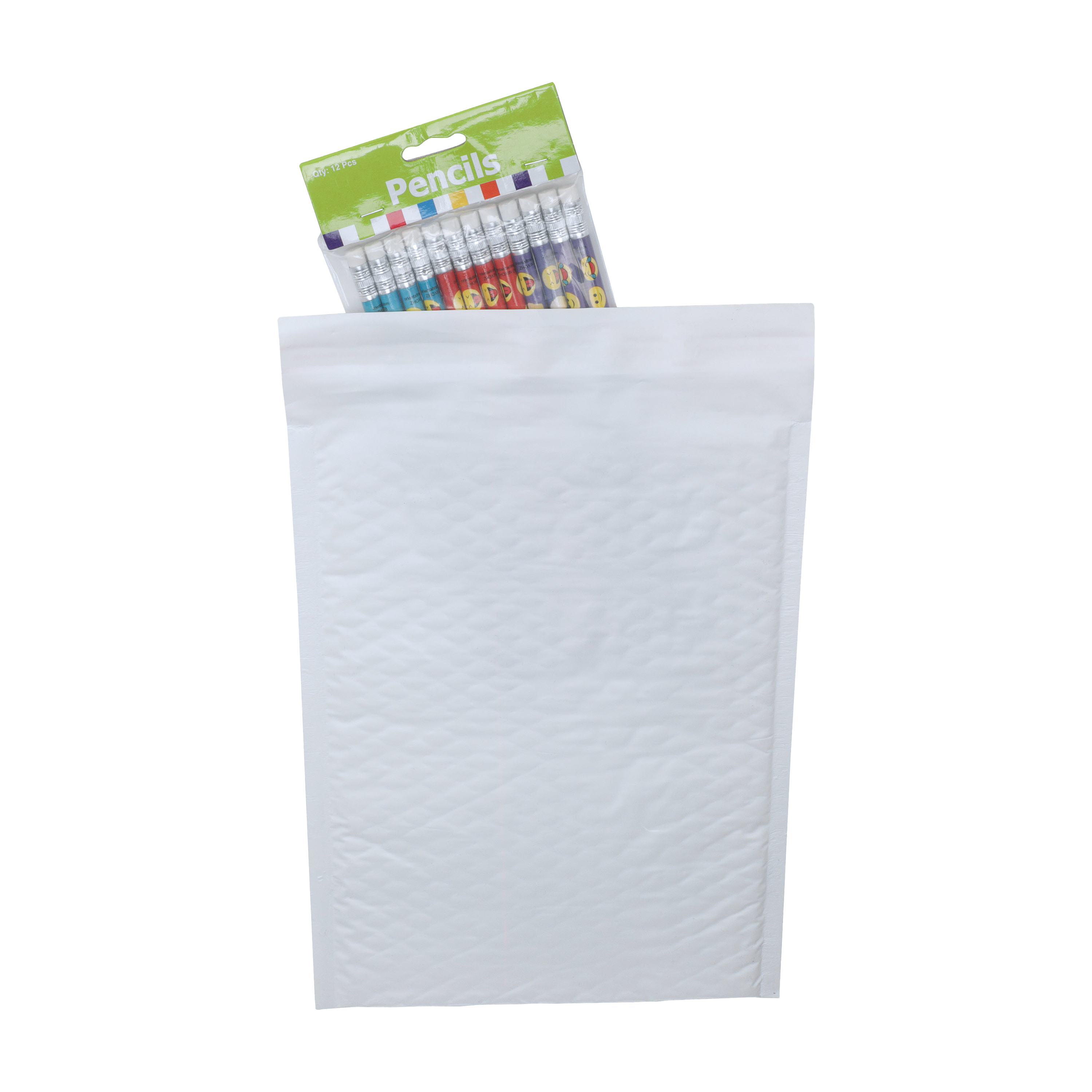white poly mailer with pencils